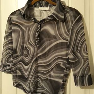 Younique clothing, 3/4 button up sheer blouse